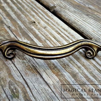 Large Vintage Brass Ribbon Drawer Pulls KBC Decorative Drawer Pulls French Provincial Dresser Pulls Furniture Hardware Scroll Drawer Pulls