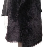 Faux FUR COAT, LEATHER sleeves in rich shiny black fur coat, real leather, shaggy