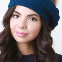 Fur Pom Pom Cable Knit Beret