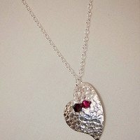 Handmade Heart Necklace Sterling Silver Hammered Heart Pendant Sterling Silver Falling Heart Pendant Necklace Silver Red Heart Necklace
