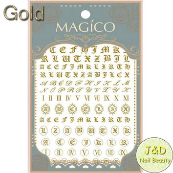 1sheet Gold Alphabet Nail Art Sticker Italic Character Decals  Roman Numbers Letters French Manicure Nail Decoration
