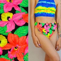 90s Swimsuit High Waist Bikini Bottom NEON FLORAL Tropical 1990s Medium Vintage Womens Swimwear Clothing Hot Pink Lime Green Orange Yellow