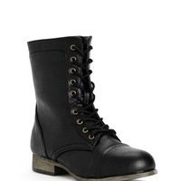 Black Lace-up Faux Leather Boots