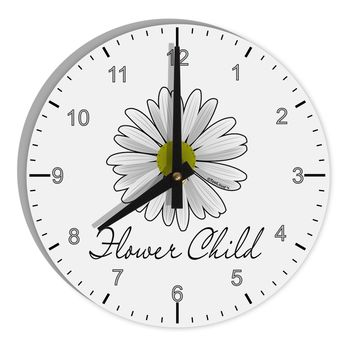 "Pretty Daisy - Flower Child 8"" Round Wall Clock with Numbers"