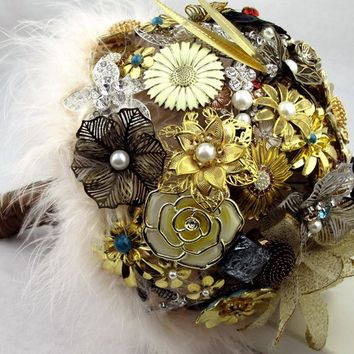 Vintage Inspired Brooch Bouquet - Gold Silver Turqoise Brown - Custom Made Bridal Bouquet - Personalizable Wedding Bouquet