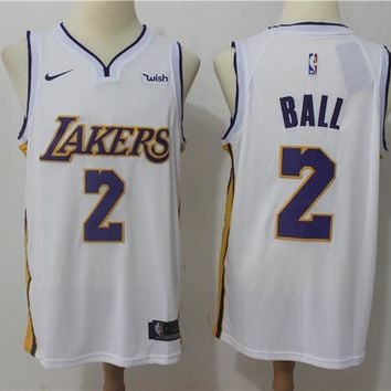 NBA Basketball Swingman Jerseys Los Angeles Lakers # 2 Lonzo Ball White