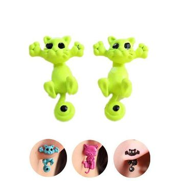 ac spbest Pameng 12 style Fashion Colourful bijoux 3D Black eye Cute Small Cat Stud Earrings For Girl  Jewelry brincos