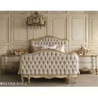 Eloquence Sophia King Gold Two-Tone Tufted Bed