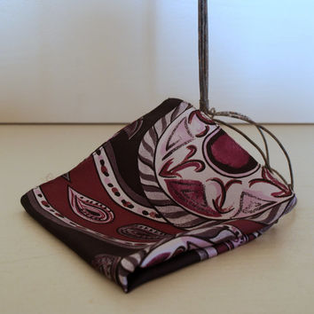 VINTAGE PAISLEY Pocket Square - Mens Fashion Accessory - Silk - Charcoal Grey - Plum - Lavender - Black - Geometric Swirl- Gift for Him