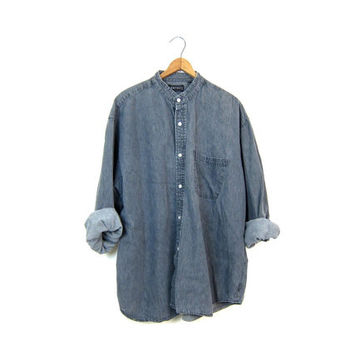Vintage 90s Grey Jean Shirt Button Up Boyfriend Shirt Collarless Denim Shirt Washed Out Faded Black Gray Denim Shirt Slouchy Grunge Large