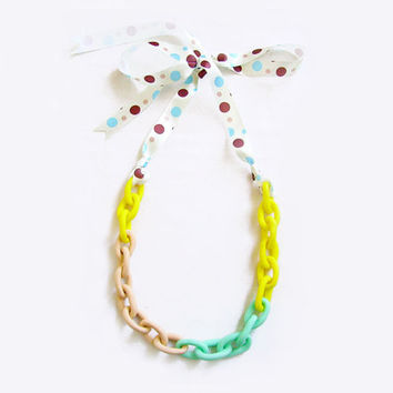 Neon Chain Statement Necklace, Ombre Chain Necklace in Mint, Yellow, Nude, Handmade Oversized Chain Link Necklace