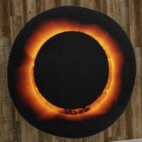 "Total Solar Eclipse (Ring of Fire) 60"" Round Microfiber Beach Towel"