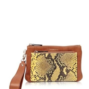 Francesco Biasia Designer Handbags Hampstead Brown Embossed Leather Clutch w/Wristlet