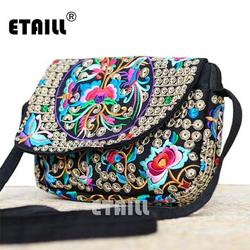 Hot Ethnic Hmong Boho Indian Embroidered Small Shoulder Bag Handmade Fabric Embroidery Crossbody Bags Luxury Brand Messenger Bag