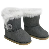 Stylish 18 Inch Doll Boots. Fits 18 Inch American Girl Dolls & More! Doll Shoes of Gray Suede Style Boots W/ Button & White Fur