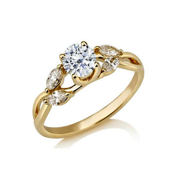 1.4 ct Diamond Engagement Ring Round Cut Certified Diamonds White Yellow Rose Gold Wedding Gift Anniversary Fiancee Luxury Jewelry TR72