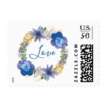 Blue Gold Hydrangeas Floral Love Postage