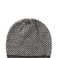 FOREVER 21 Chevron Knit Beanie Black/Cream One