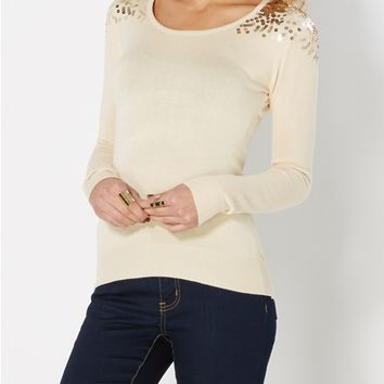 Burgundy Sequin Droplets Sweater