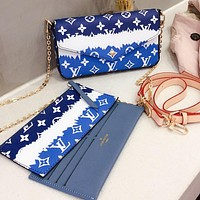 LV new material three-piece mobile phone, ID card, cash, key bag blue