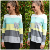 On The Horizon Lemon Stripe Pocket Sweater