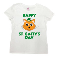 St Pattys Day T Shirt Cat Lover TShirt St Patricks Day Outfit Kitty Shirt St Paddys Day St Pats Happy St Catty's Day Mens Ladies Tee - SA750