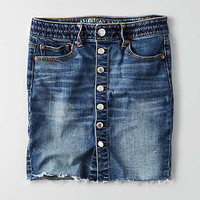 AEO Fray Hem Denim Skirt, Blue