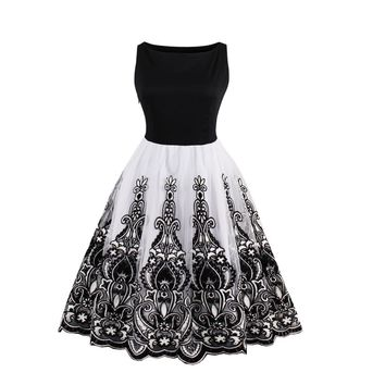 Embroidery Patchwork Sleeveless Scoop Knee-length Dress