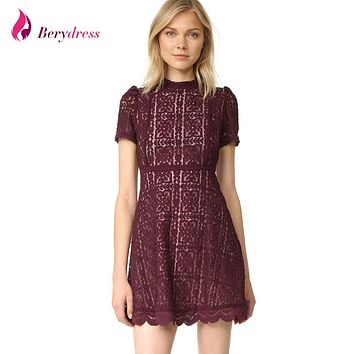 Berydress Elegant Womens Cute Mini Skater Dress Petite Stylish High Neck Short Sleeves A-Line Short Floral Lace Dresses 2017