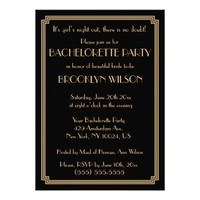 Gatsby Art Deco Black Bachelorette Party Invites