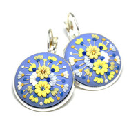 "Feminine Floral Embroidery Earrings ""In Paradise"" Polymer Clay Embroidery Applique One of a Kind Jewelry Blue Yellow White Round Earring"