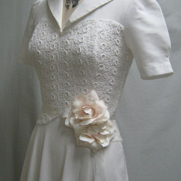 Vintage 40s Retro WEDDING Prom DRESS Cotton Pique Guipure LACE Bridesmaid  Bust 34""