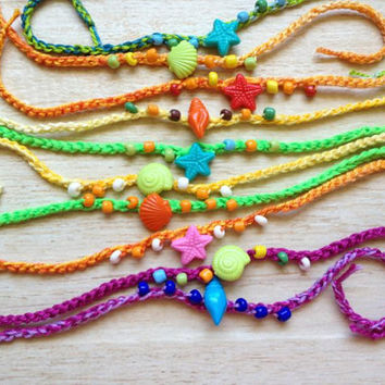 Friendship Bracelets, TEN Crocheted Colorful Birthday Party Favors, Shells Starfish Beach Ocean Summer, Pool Party, Children Preteen Teen
