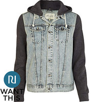 Grey jersey and denim jacket
