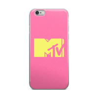 MTV Music Television Logo Cute Girly Girls Yellow & Pink iPhone 4 4s 5 5s 5C 6 6s 6 Plus 6s Plus 7 & 7 Plus Case