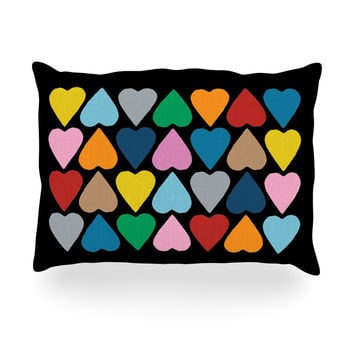 """Project M """"Up and Down Hearts on Black"""" Oblong Pillow"""