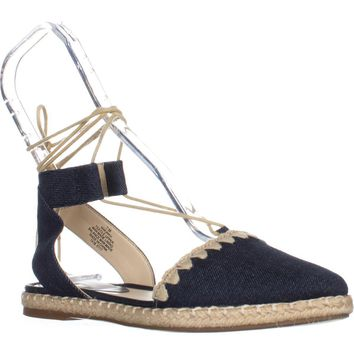 Nine West Unah Pointed Toe Flat Lace Up Sandals, Navy, 7 US