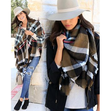 Grace & Lace Blanket Scarf/Toggle Poncho (Olive Plaid)