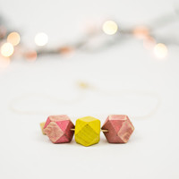 Wooden beads minimalist necklace, Geometric necklace, Wood necklace, Eco friendly, Handpainted jewelry, Pink wooden beads, Yellow wood beads