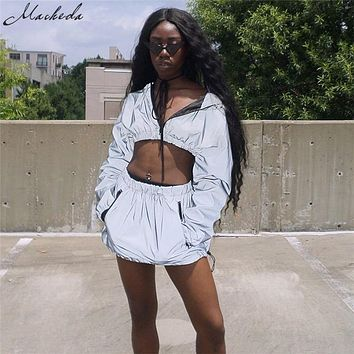 Macheda Reflective Two Piece Set Short Hooded Pullover Top And Skirt Set Gray 2 Piece Set Women Fashion Skirt Top Outfits Women