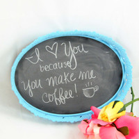 Vintage Ornate Framed Chalkboard, Upcycled Shabby Chic, Home Decor, Light Blue, Chalk Board Metal Frame, Cute Message Board, Repurposed