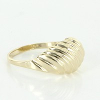 Textured Dome Small Vintage Cocktail Ring 14 Karat Yellow Gold Estate Fine Jewelry 6