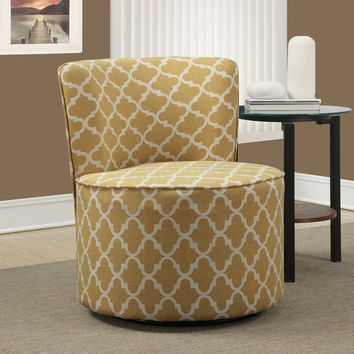 "Accent Chair - Swivel Base - Gold "" Lantern "" Fabric"