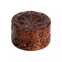 Rosewood Herb Grinder - Carved Pot Leaf Lid - 2-part - 35mm wide - Herb Grinders - Smoking Accessories - Grasscity.com