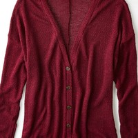 AEO Women's Feather Light Cardigan (Burgundy)