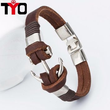 Good price !2017 Fashion Charm Leather Anchor Men's Bracelets Hot  Bangle Handmade Leather Bracelets Hooks Men's Bracelets !