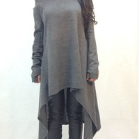 Gray Long-Sleeve Asymmetrical Loose Dress