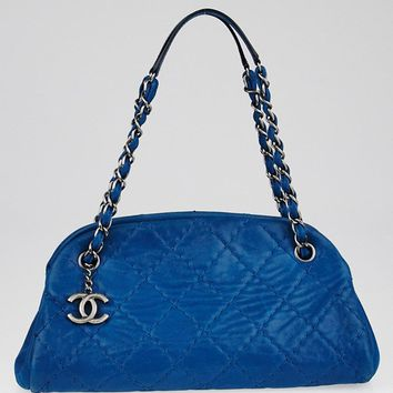 Chanel Blue Quilted Iridescent Calfskin Leather Just Mademoiselle Bowling Bag