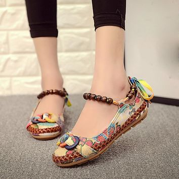 shoes woman Women Ethnic Beading Round Toe Colorful Casual Embroidered Cotton Shoes zapatos mujer chaussures femme Flats A6