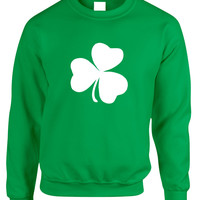 Adult Sweatshirt White Shamrock Graphic St Patrick's Day Cool